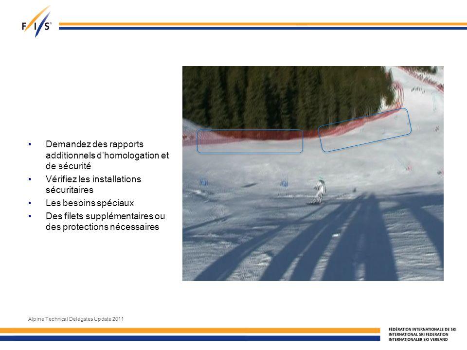 Demandez des rapports additionnels dhomologation et de sécurité Vérifiez les installations sécuritaires Les besoins spéciaux Des filets supplémentaires ou des protections nécessaires Alpine Technical Delegates Update 2011