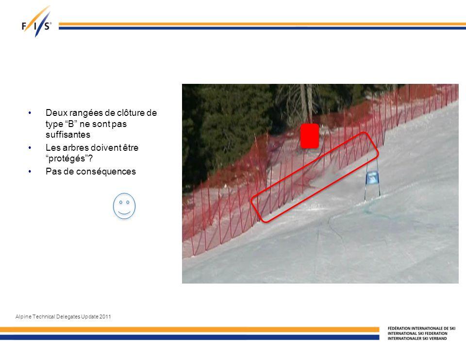 Deux rangées de clôture de type B ne sont pas suffisantes Les arbres doivent être protégés.