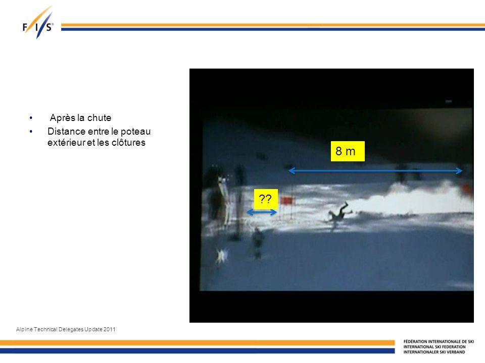 Après la chute Distance entre le poteau extérieur et les clôtures Alpine Technical Delegates Update 2011 8 m ??