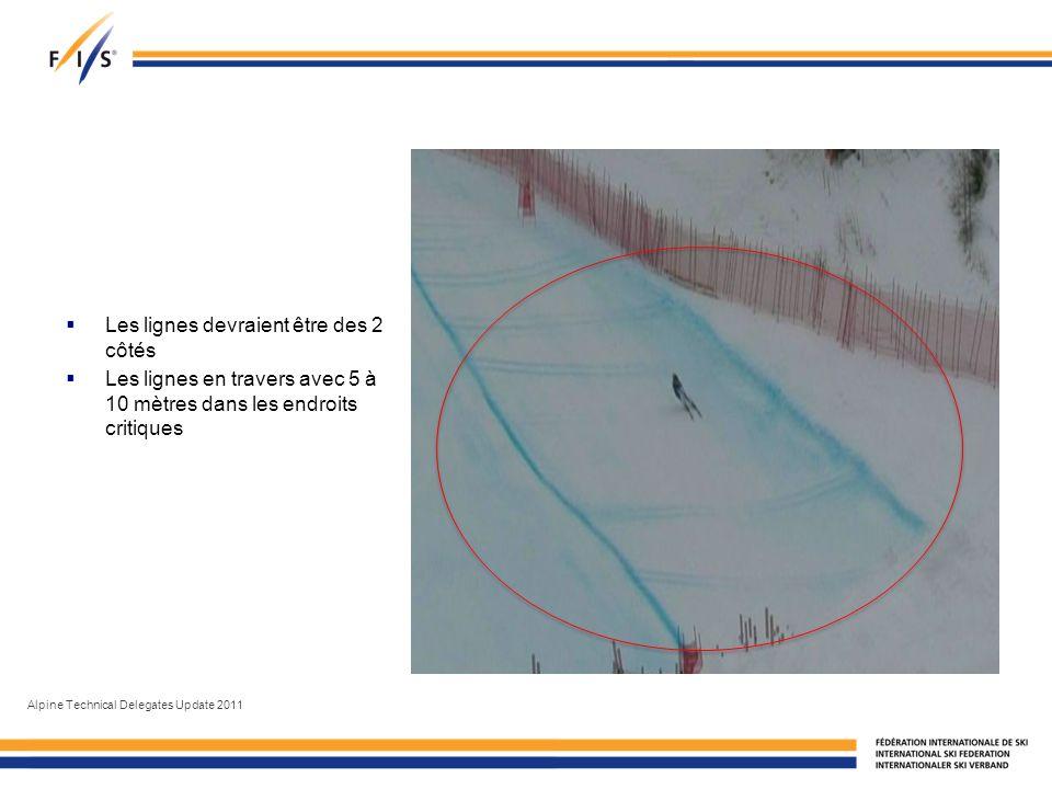 Les lignes devraient être des 2 côtés Les lignes en travers avec 5 à 10 mètres dans les endroits critiques Alpine Technical Delegates Update 2011