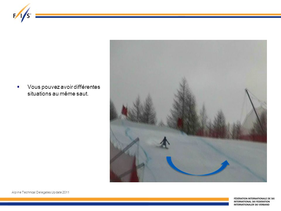 Vous pouvez avoir différentes situations au même saut. Alpine Technical Delegates Update 2011