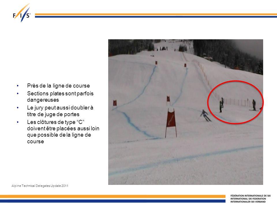 Près de la ligne de course Sections plates sont parfois dangereuses Le jury peut aussi doubler à titre de juge de portes Les clôtures de type C doivent être placées aussi loin que possible de la ligne de course Alpine Technical Delegates Update 2011