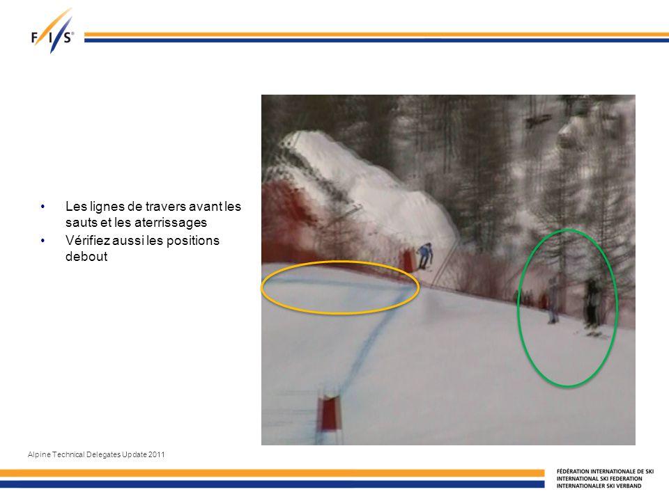 Les lignes de travers avant les sauts et les aterrissages Vérifiez aussi les positions debout Alpine Technical Delegates Update 2011