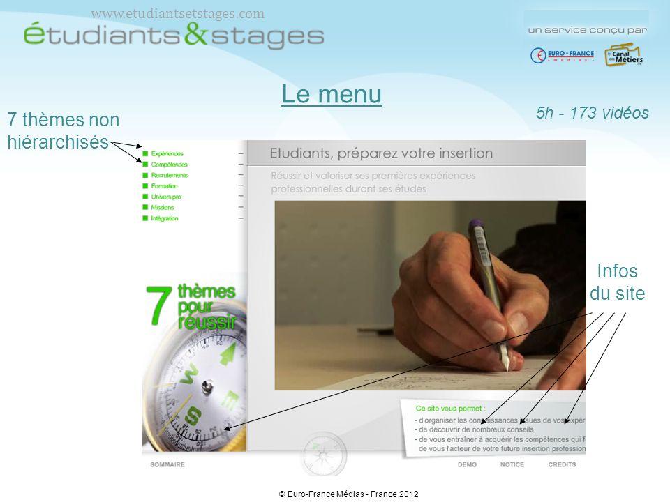 Le menu 7 thèmes non hiérarchisés 5h - 173 vidéos Infos du site © Euro-France Médias - France 2012 www.etudiantsetstages.com