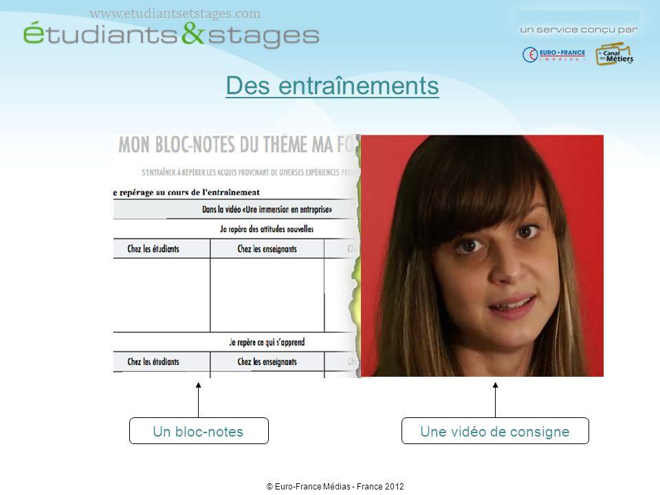 Des entraînements Une vidéo de consigneUn bloc-notes © Euro-France Médias - France 2012 www.etudiantsetstages.com