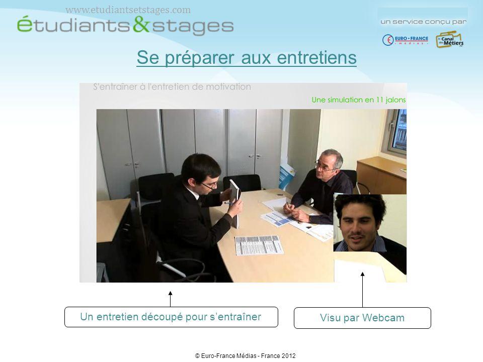Se préparer aux entretiens Visu par Webcam Un entretien découpé pour sentraîner © Euro-France Médias - France 2012 www.etudiantsetstages.com