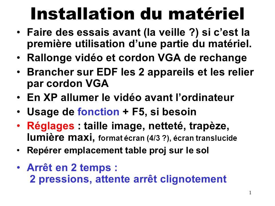 1 Installation du matériel Faire des essais avant (la veille ?) si cest la première utilisation dune partie du matériel.