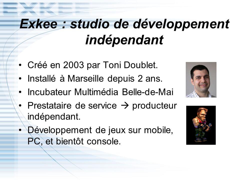 Exkee : studio de développement indépendant Créé en 2003 par Toni Doublet. Installé à Marseille depuis 2 ans. Incubateur Multimédia Belle-de-Mai Prest