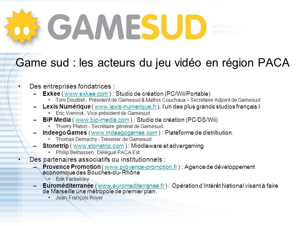 Game sud : les acteurs du jeu vidéo en région PACA Des entreprises fondatrices : –Exkee ( www.exkee.com ) : Studio de création (PC/Wii/Portable)www.ex