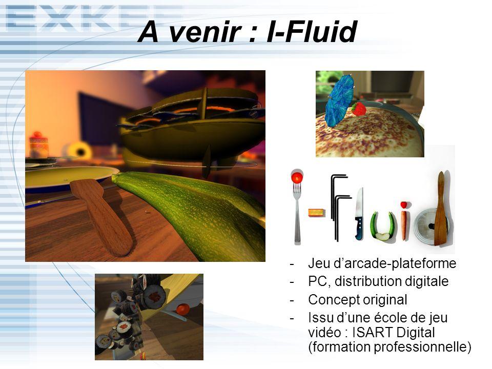 A venir : I-Fluid I-Fluid -Jeu darcade-plateforme -PC, distribution digitale -Concept original -Issu dune école de jeu vidéo : ISART Digital (formatio