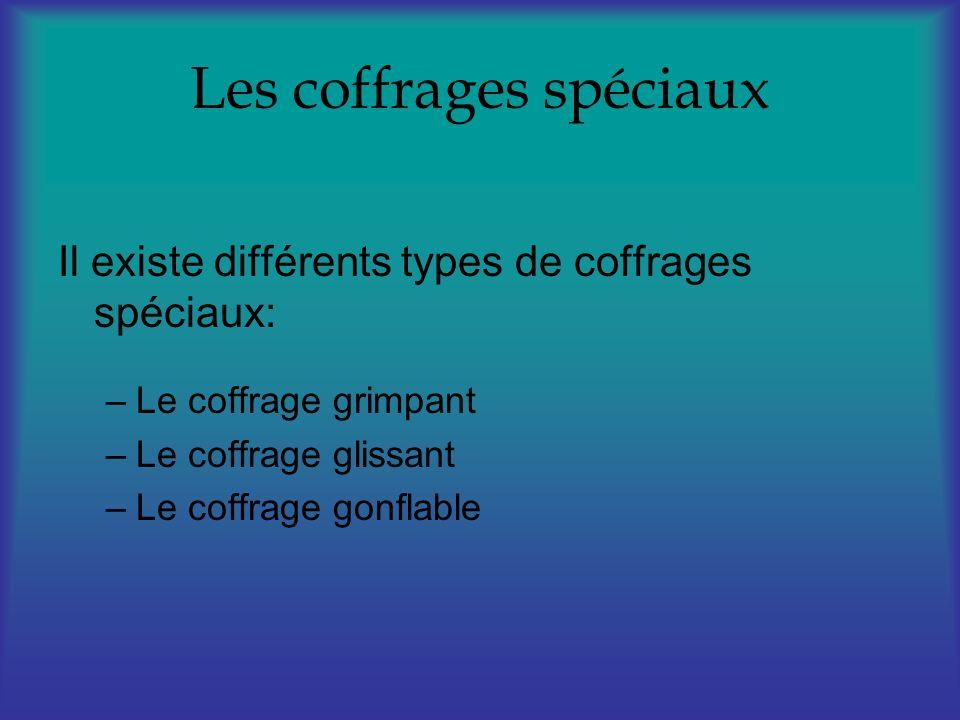 Les coffrages spéciaux Il existe différents types de coffrages spéciaux: –Le coffrage grimpant –Le coffrage glissant –Le coffrage gonflable