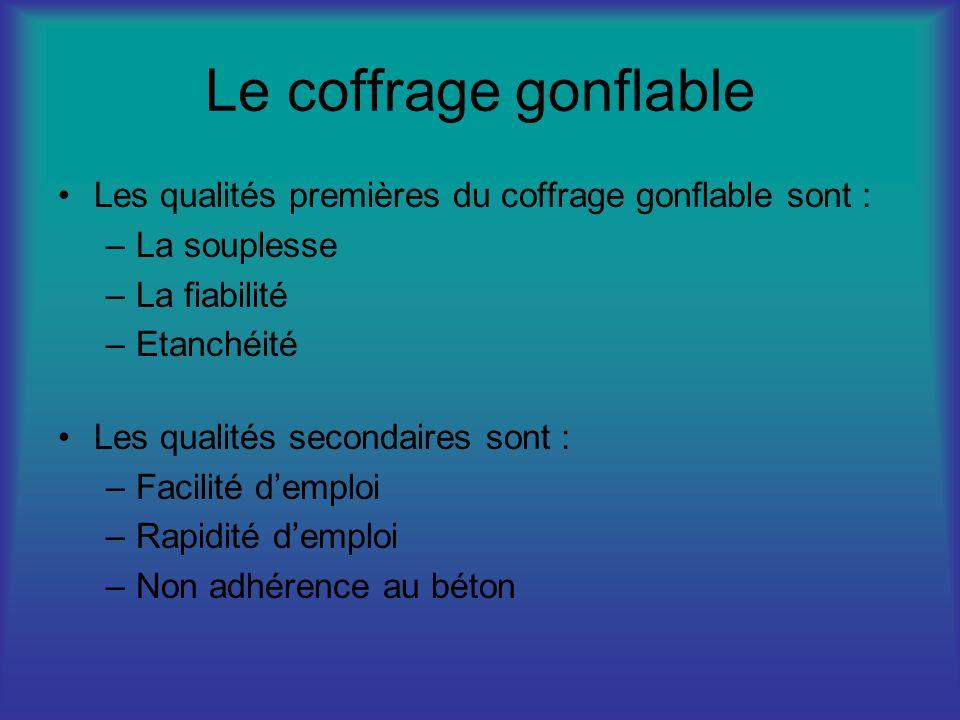 Le coffrage gonflable Les qualités premières du coffrage gonflable sont : –La souplesse –La fiabilité –Etanchéité Les qualités secondaires sont : –Fac