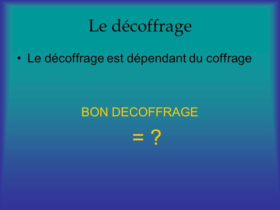 Le décoffrage Le décoffrage est dépendant du coffrage BON DECOFFRAGE = ?