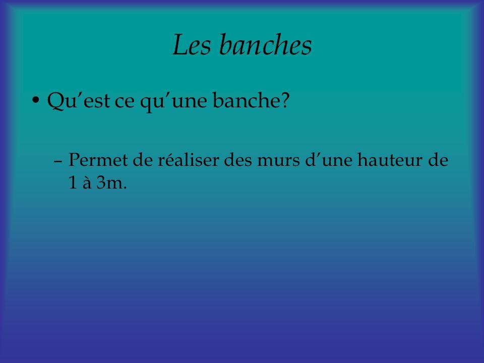 Les banches Quest ce quune banche? –Permet de réaliser des murs dune hauteur de 1 à 3m.