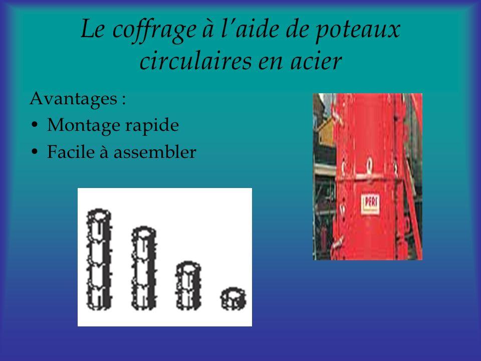 Le coffrage à laide de poteaux circulaires en acier Avantages : Montage rapide Facile à assembler