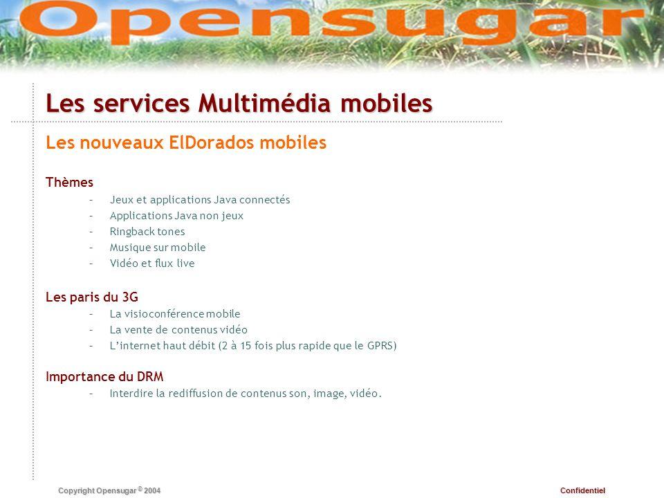 Confidentiel Copyright Opensugar © 2004 Les services Multimédia mobiles Les nouveaux ElDorados mobiles Thèmes – –Jeux et applications Java connectés –