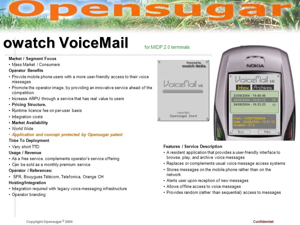 Confidentiel Copyright Opensugar © 2004 owatch VoiceMail Features / Service Description A resident application that provides a user-friendly interface