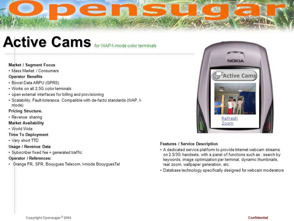 Confidentiel Copyright Opensugar © 2004 Active Cams Features / Service Description A dedicated service platform to provide Internet webcam streams on
