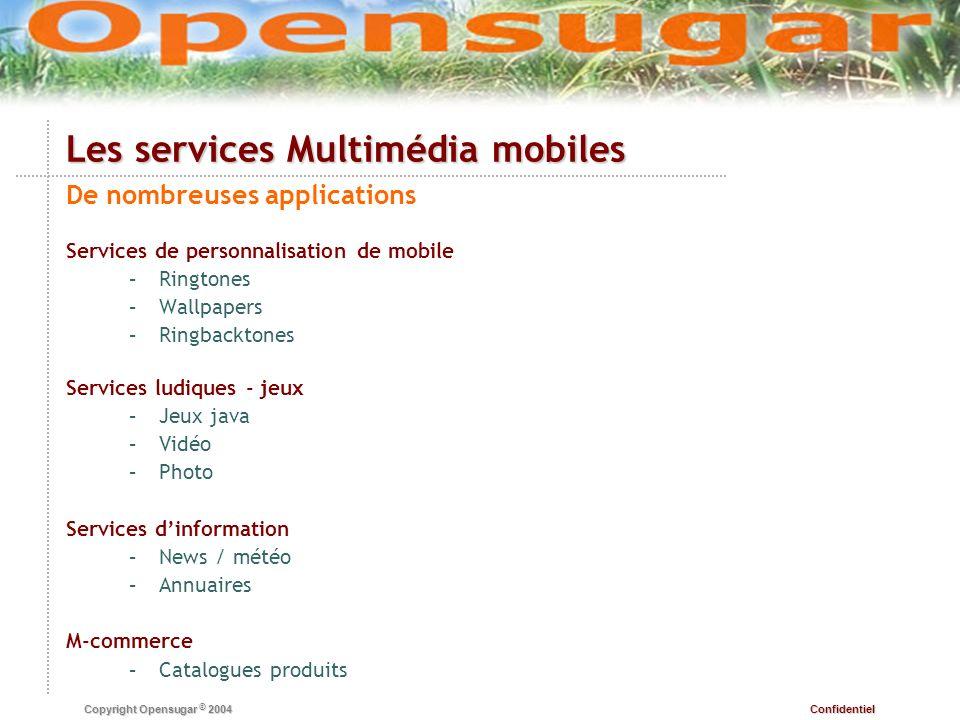 Confidentiel Copyright Opensugar © 2004 Les services Multimédia mobiles Technologies au service de nouveaux usages SMS – –Facturation SMS Premium – –Scoring jeux, voting jeux – –Information en fonction de la localisation de lutilisateur – –Réveil dun applicatif dans le mobile MMS – –Envoi de contenu son, image, animation – –Conversion en carte postale WAP / XHTML – –Lhypertexte type web sur mobile : même technologie serveur, Java MIDP ou DOJA – –Applicatifs embarqués dans le mobile, installation/désinstallation par lutilisateur – –90% de jeux, apparition dutilitaires et dapplications multimédia autour de la vidéo et de la musique Autres – –Symbian : operating system ouvert aux développeurs – –Technologie Flash pour mobile, RealPlayer