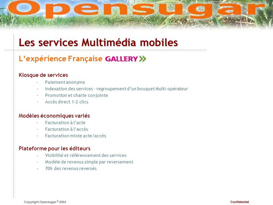 Confidentiel Copyright Opensugar © 2004 Les services Multimédia mobiles Lexpérience Française Kiosque de services – –Paiement anonyme – –Indexation de