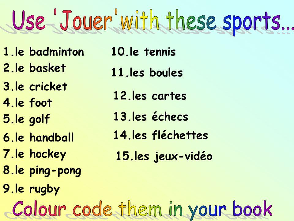 1.le badminton 2.le basket 3.le cricket 4.le foot 5.le golf 6.le handball 7.le hockey 8.le ping-pong 9.le rugby 10.le tennis 11.les boules 12.les cart