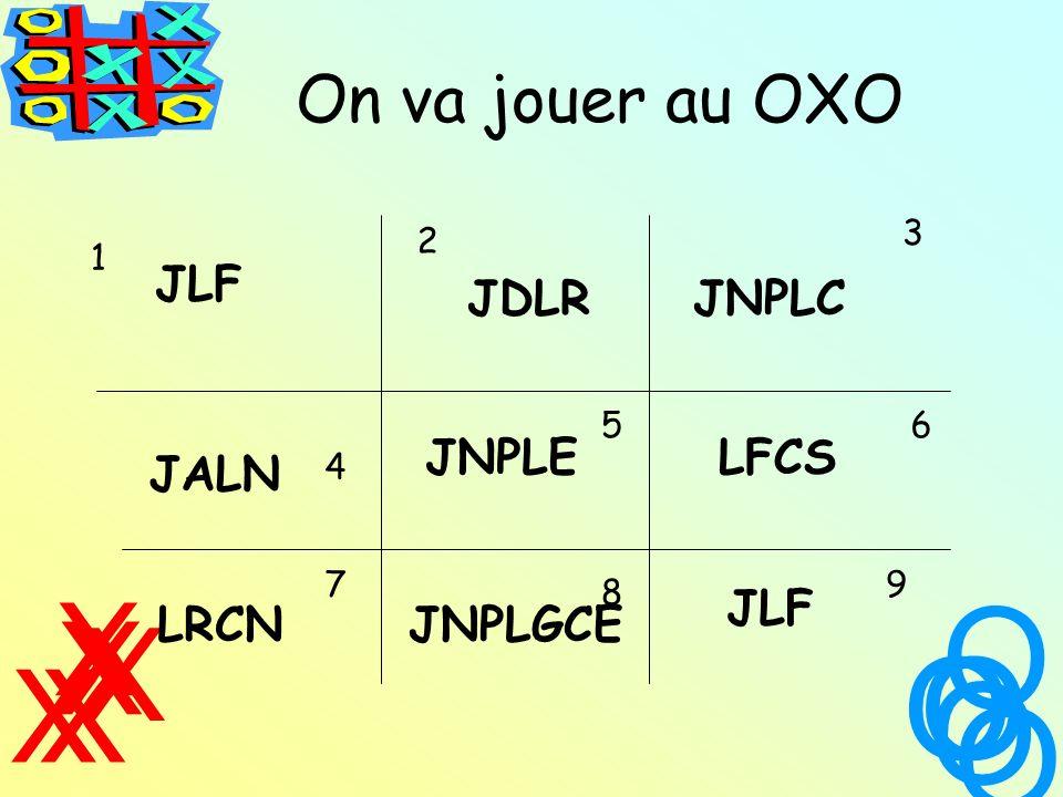 On va jouer au OXO X X XX X O O O O O 1 2 3 4 56 7 8 9 JLF JDLRJNPLC JALN JNPLELFCS LRCNJNPLGCE JLF