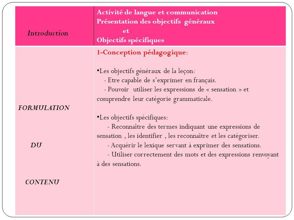 Activité de langue et communication Présentation des objectifs généraux et Objectifs spécifiques FORMULATION DU CONTENU 1-Conception pédagogique: Les objectifs généraux de la leçon: - Etre capable de sexprimer en français.