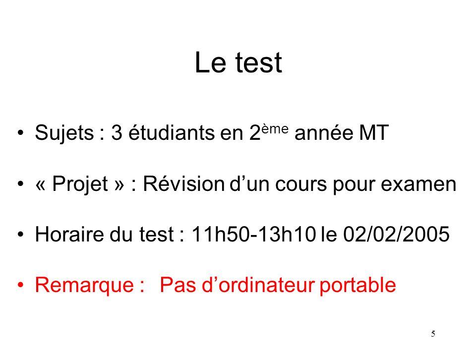 5 Le test Sujets : 3 étudiants en 2 ème année MT « Projet » : Révision dun cours pour examen Horaire du test : 11h50-13h10 le 02/02/2005 Remarque :Pas dordinateur portable