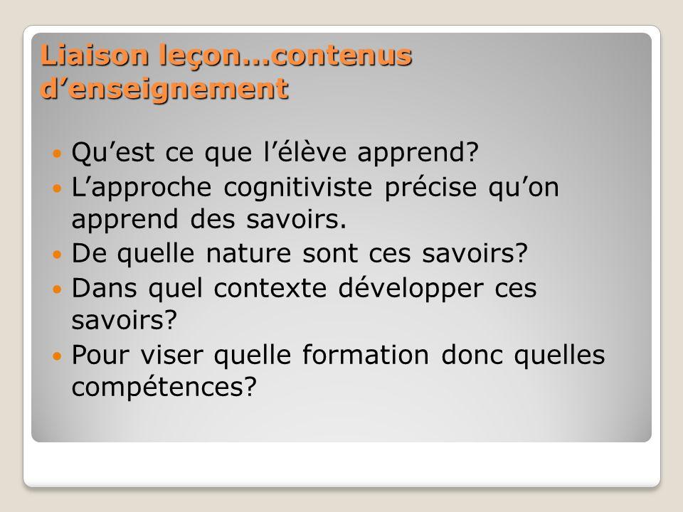 Liaison leçon…contenus denseignement Quest ce que lélève apprend? Lapproche cognitiviste précise quon apprend des savoirs. De quelle nature sont ces s