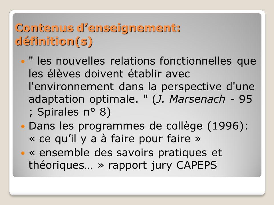 Contenus denseignement: définition(s)