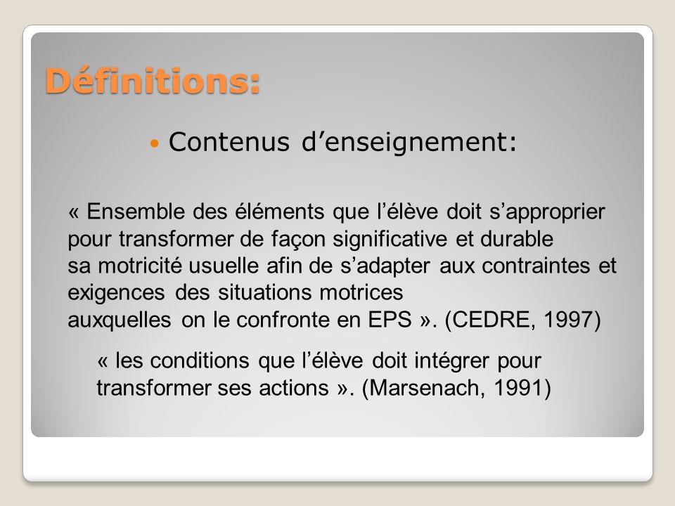 Définitions: Contenus denseignement: « Ensemble des éléments que lélève doit sapproprier pour transformer de façon significative et durable sa motrici