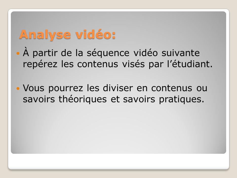 Analyse vidéo: À partir de la séquence vidéo suivante repérez les contenus visés par létudiant. Vous pourrez les diviser en contenus ou savoirs théori