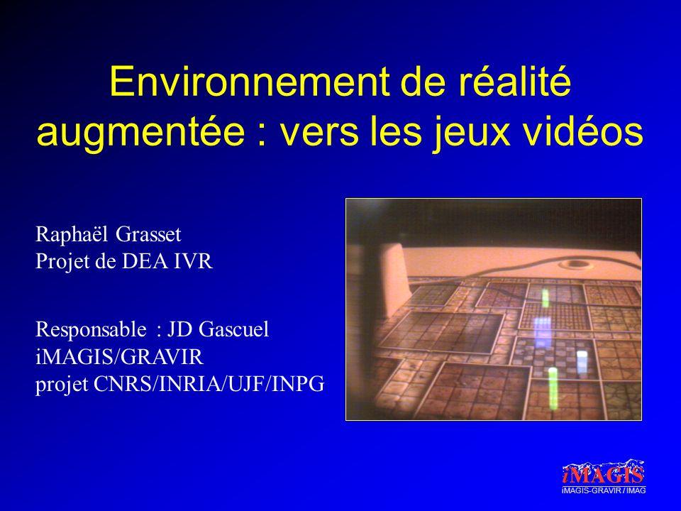 iMAGIS-GRAVIR / IMAG Environnement de réalité augmentée : vers les jeux vidéos Raphaël Grasset Projet de DEA IVR Responsable : JD Gascuel iMAGIS/GRAVIR projet CNRS/INRIA/UJF/INPG