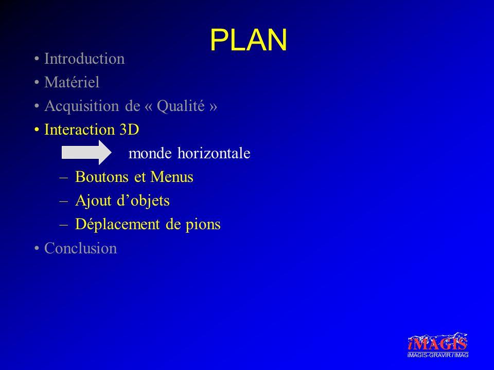 iMAGIS-GRAVIR / IMAG PLAN Introduction Matériel Acquisition de « Qualité » Interaction 3D –Boutons et Menus –Ajout dobjets –Déplacement de pions Conclusion monde horizontale