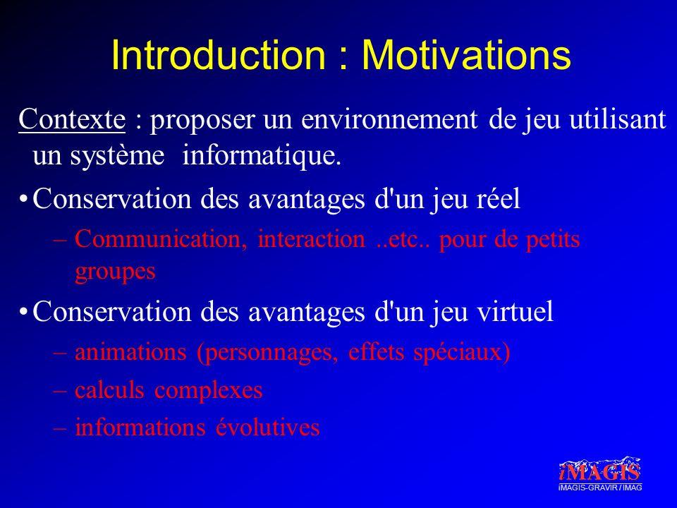 iMAGIS-GRAVIR / IMAG Introduction : Motivations Contexte : proposer un environnement de jeu utilisant un système informatique.