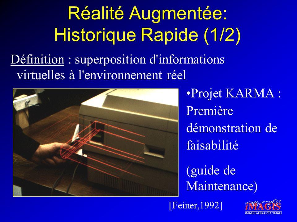 iMAGIS-GRAVIR / IMAG Réalité Augmentée: Historique Rapide (1/2) Définition : superposition d informations virtuelles à l environnement réel [Feiner,1992] Projet KARMA : Première démonstration de faisabilité (guide de Maintenance)