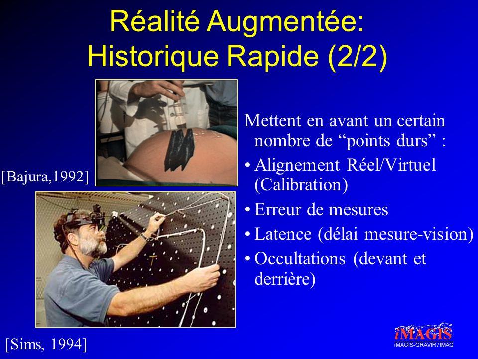 iMAGIS-GRAVIR / IMAG Mettent en avant un certain nombre de points durs : Alignement Réel/Virtuel (Calibration) Erreur de mesures Latence (délai mesure-vision) Occultations (devant et derrière) [Bajura,1992] [Sims, 1994] Réalité Augmentée: Historique Rapide (2/2)