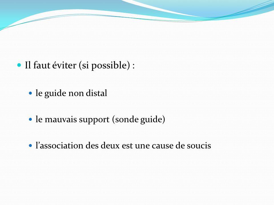 Il faut éviter (si possible) : le guide non distal le mauvais support (sonde guide) lassociation des deux est une cause de soucis