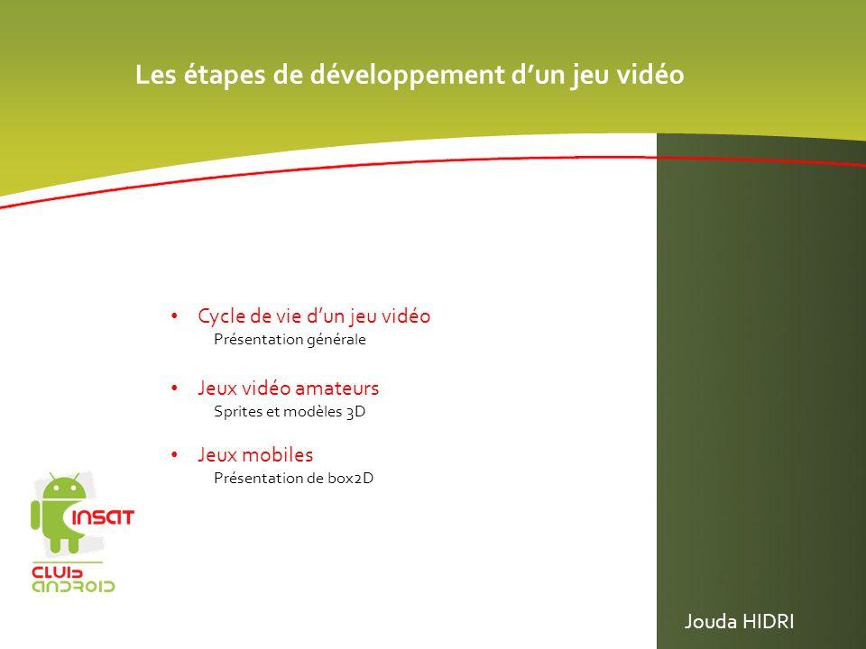 Les étapes de développement dun jeu vidéo Cycle de vie dun jeu vidéo Présentation générale Jeux vidéo amateurs Sprites et modèles 3D Jeux mobiles Prés