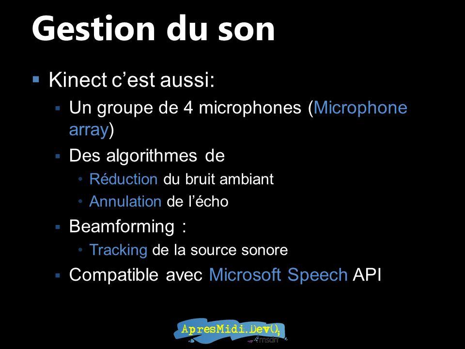 Kinect cest aussi: Un groupe de 4 microphones (Microphone array) Des algorithmes de Réduction du bruit ambiant Annulation de lécho Beamforming : Track