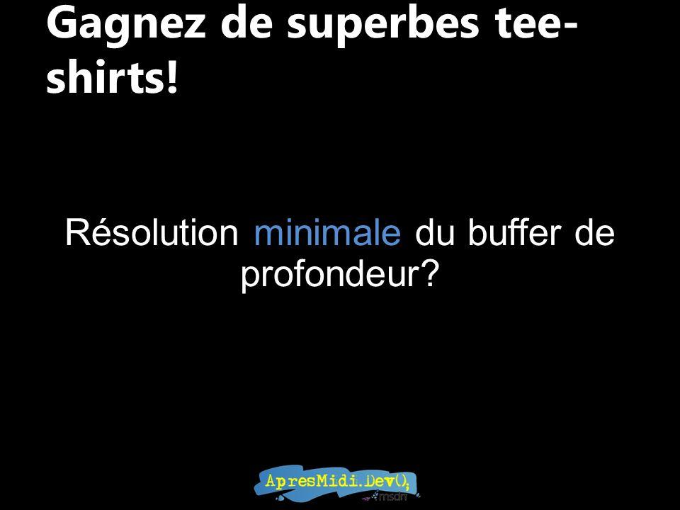 Gagnez de superbes tee- shirts! Résolution minimale du buffer de profondeur?