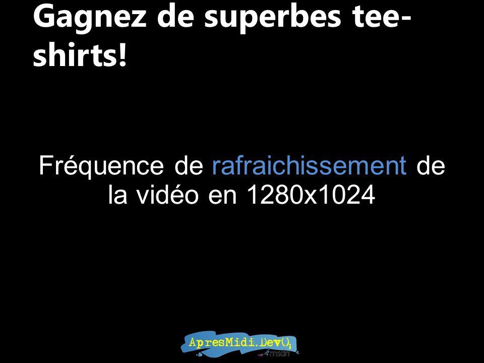 Gagnez de superbes tee- shirts! Fréquence de rafraichissement de la vidéo en 1280x1024