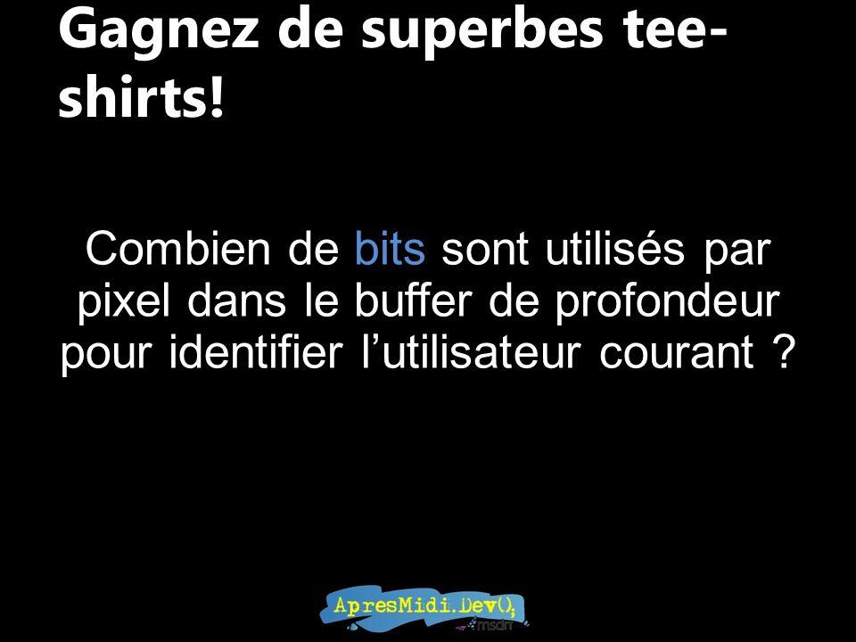 Gagnez de superbes tee- shirts! Combien de bits sont utilisés par pixel dans le buffer de profondeur pour identifier lutilisateur courant ?