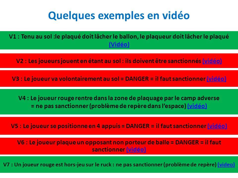 V1 : Tenu au sol :le plaqué doit lâcher le ballon, le plaqueur doit lâcher le plaqué (Vidéo) (Vidéo) V2 : Les joueurs jouent en étant au sol : ils doivent être sanctionnés (vidéo)(vidéo) V3 : Le joueur va volontairement au sol = DANGER = il faut sanctionner (vidéo)(vidéo) V4 : Le joueur rouge rentre dans la zone de plaquage par le camp adverse = ne pas sanctionner (problème de repère dans lespace) (vidéo)(vidéo) V5 : Le joueur se positionne en 4 appuis = DANGER = il faut sanctionner (vidéo)(vidéo) V6 : Le joueur plaque un opposant non porteur de balle = DANGER = il faut sanctionner (vidéo)(vidéo) V7 : Un joueur rouge est hors-jeu sur le ruck : ne pas sanctionner (problème de repère) (video)(video) Quelques exemples en vidéo