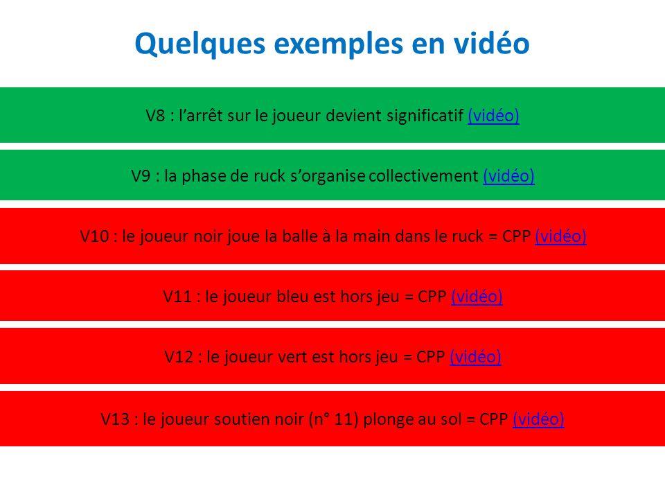 V8 : larrêt sur le joueur devient significatif (vidéo)(vidéo) V9 : la phase de ruck sorganise collectivement (vidéo)(vidéo) V10 : le joueur noir joue la balle à la main dans le ruck = CPP (vidéo)(vidéo) Quelques exemples en vidéo V11 : le joueur bleu est hors jeu = CPP (vidéo)(vidéo) V12 : le joueur vert est hors jeu = CPP (vidéo)(vidéo) V13 : le joueur soutien noir (n° 11) plonge au sol = CPP (vidéo)(vidéo)