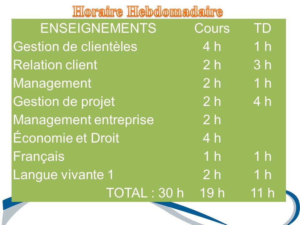 ENSEIGNEMENTSCoursTD Gestion de clientèles4 h1 h Relation client2 h3 h Management2 h1 h Gestion de projet2 h4 h Management entreprise2 h Économie et D