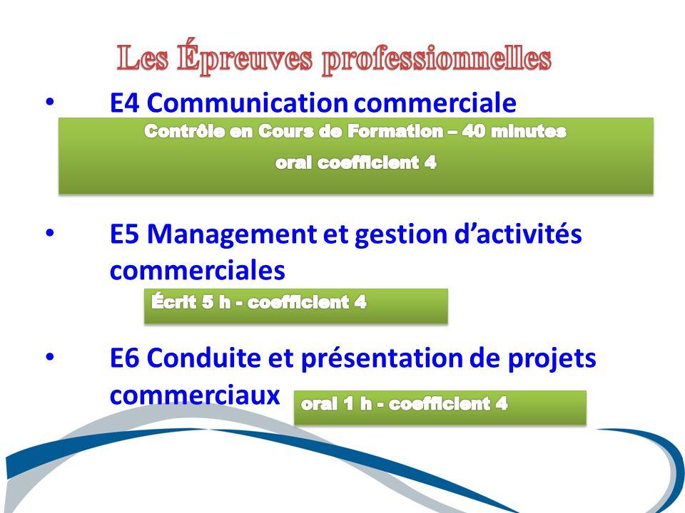 E4 Communication commerciale E5 Management et gestion dactivités commerciales E6 Conduite et présentation de projets commerciaux