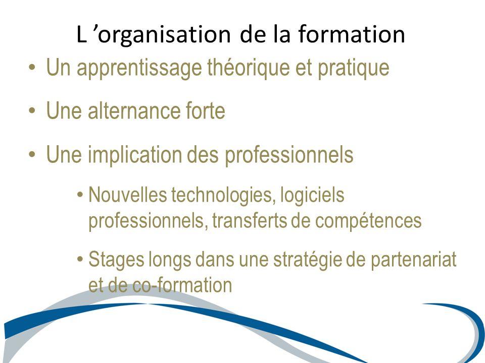 Un apprentissage théorique et pratique Une alternance forte Une implication des professionnels Nouvelles technologies, logiciels professionnels, trans