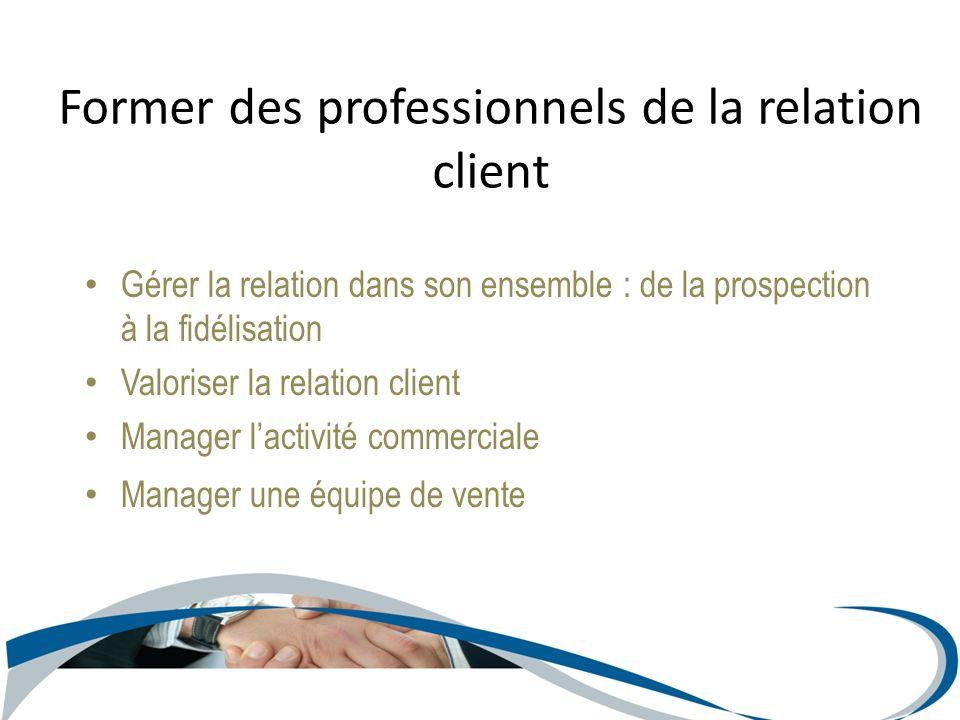 Gérer la relation dans son ensemble : de la prospection à la fidélisation Valoriser la relation client Manager lactivité commerciale Manager une équip