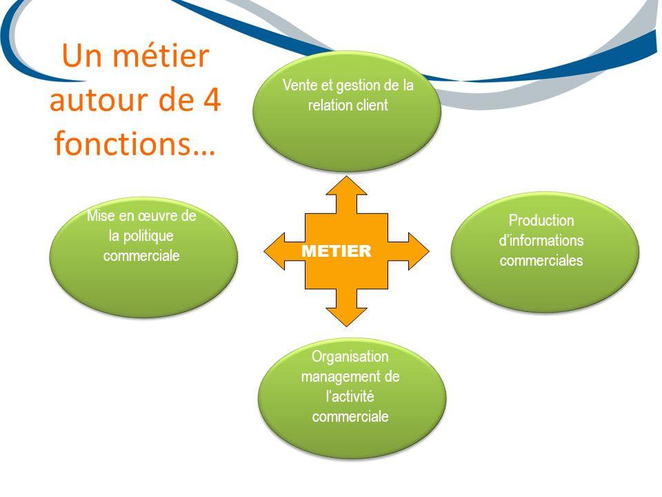 Vente et gestion de la relation client Production dinformations commerciales Organisation management de lactivité commerciale Mise en œuvre de la poli